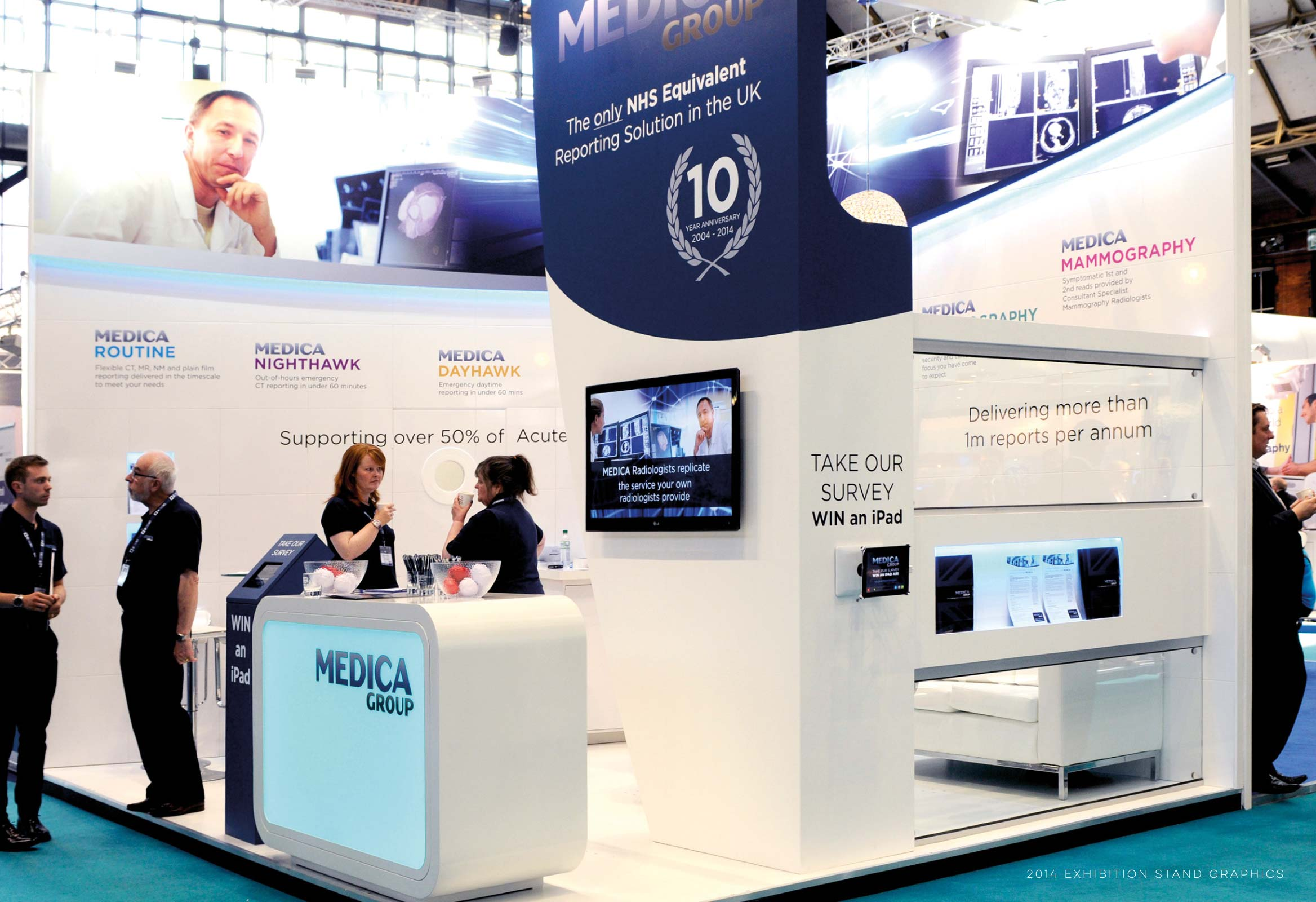 Image of Medica's Exhibition Stand for UKRC 2014 graphic design by Miller&Co
